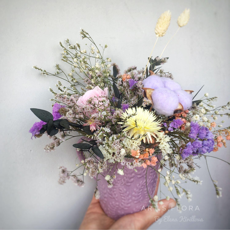 Милый интерьерный букет из сухоцветов и стабилизированных цветов, Композиции, Москва, Фото №1