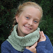 Аксессуары handmade. Livemaster - original item Knitted Snood in one turn with Leaves pattern Olive Green Womens. Handmade.