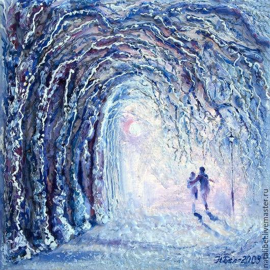 """Люди, ручной работы. Ярмарка Мастеров - ручная работа. Купить Картина """"Зима. Мы вместе"""" из тетраптиха """"Мы вместе"""". Handmade."""