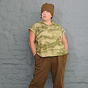 Одежда handmade. Livemaster - original item Tunic with hood and slits camouflage. Art. 985. Handmade.