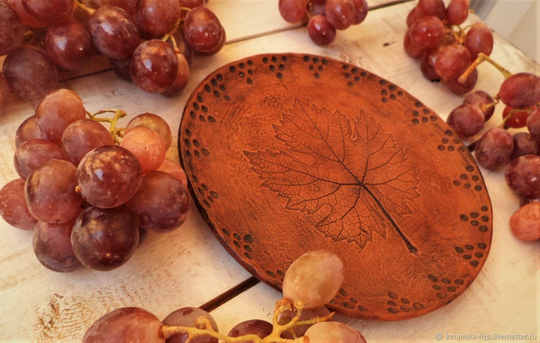 Керамическая тарелочка с отпечатком виноградного листа, Тарелки, Томск,  Фото №1