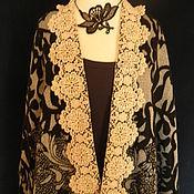 Одежда handmade. Livemaster - original item Poncho with lace collar (lapel)