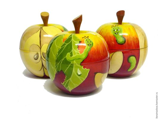 Яблоко - шкатулка `Веселые червячки` готовая работа  Ох и вкусное яблоко!