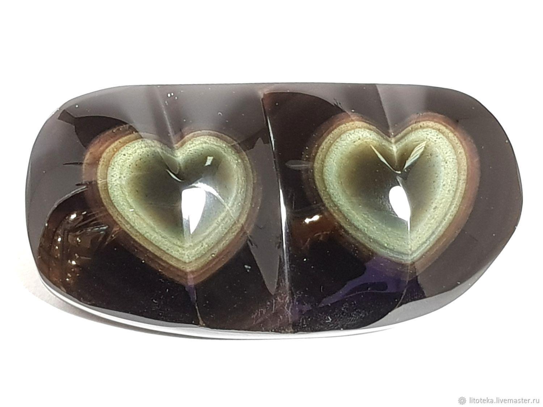 Пара сердец бархатного радужного обсидиана - любовь в вечности, Подарки, Москва, Фото №1