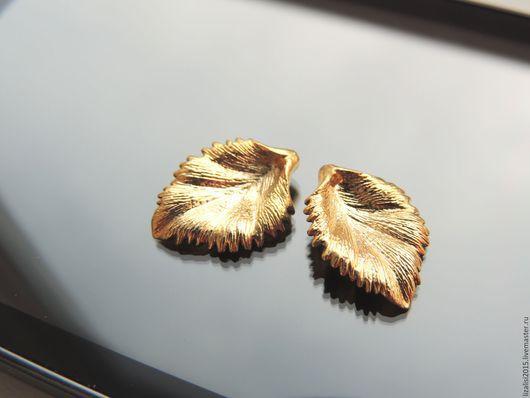 Для украшений ручной работы. Ярмарка Мастеров - ручная работа. Купить Подвеска Лист матовая позолота Южная Корея. Handmade.