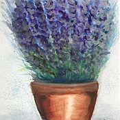 Картины и панно handmade. Livemaster - original item Watercolor painting pot with lavender