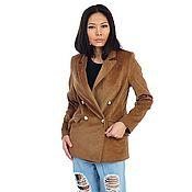 handmade. Livemaster - original item Stylish double-breasted corduroy jacket. Handmade.