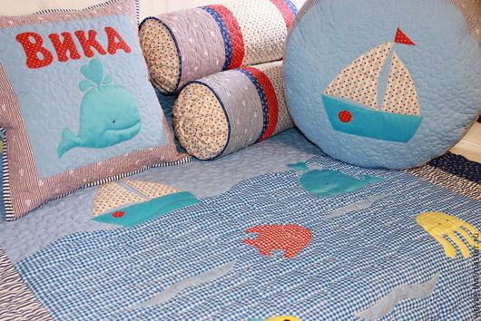 """Пледы и одеяла ручной работы. Ярмарка Мастеров - ручная работа. Купить Покрывало """"Морские обитатели"""" комплект именной для девочки. Handmade."""