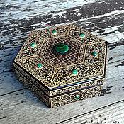 Для дома и интерьера handmade. Livemaster - original item Copy of Malachite-Amber hexagon chest with legs. Handmade.