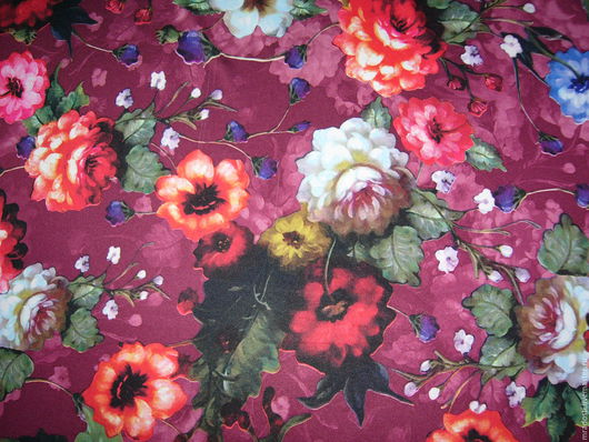 """Шитье ручной работы. Ярмарка Мастеров - ручная работа. Купить Трикотаж-масло """"Цветы"""". Handmade. Фуксия, трикотаж с цветами"""