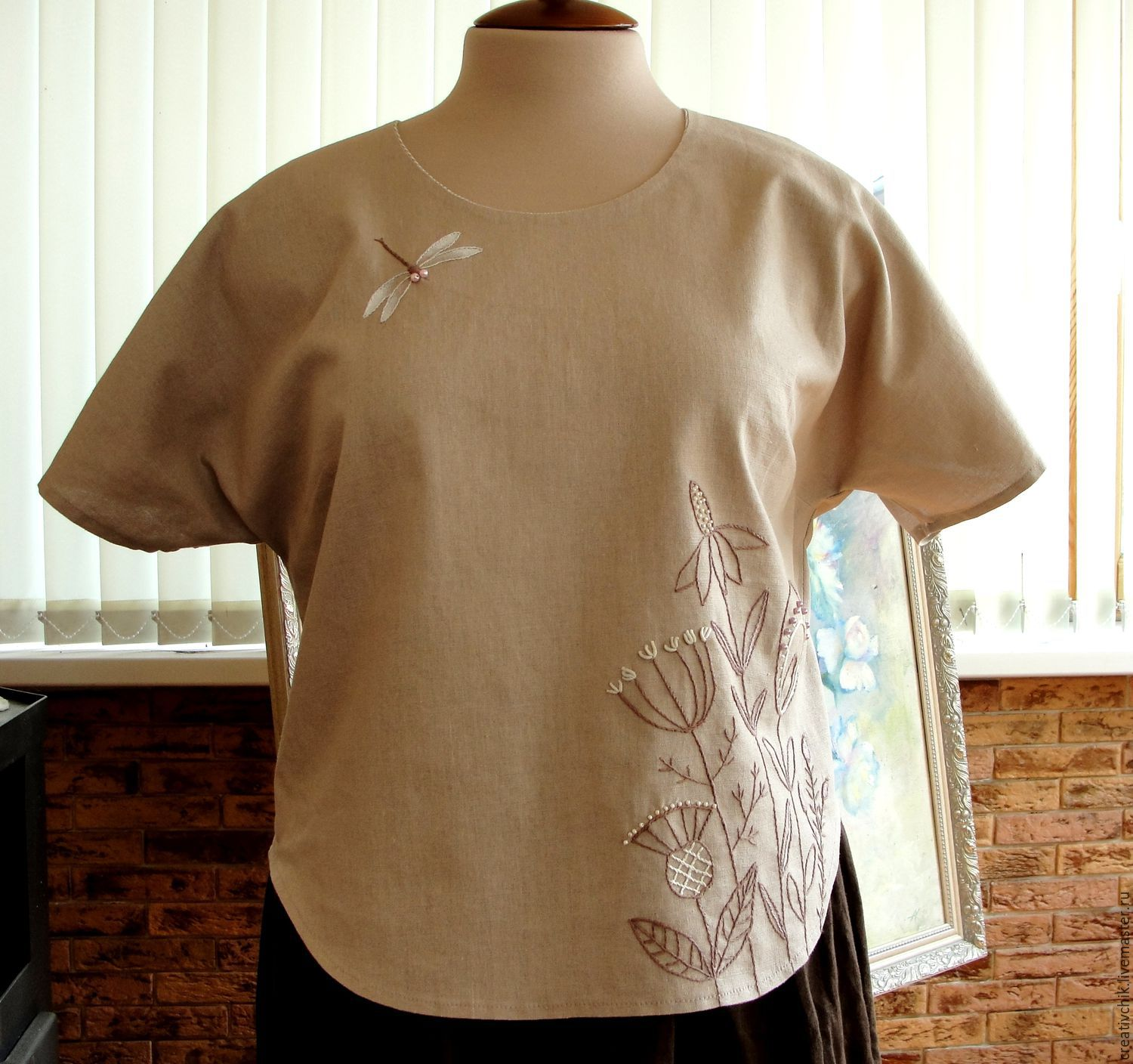 Linen blouse with hand embroidery, Blouses, Volgograd,  Фото №1