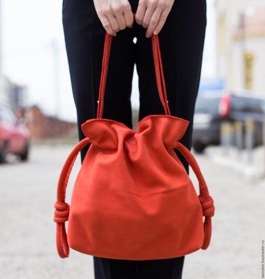 Сумка кожаная женская, Миланский Узел, сумка из натуральной кожи, красная, нубук, модная сумка, натуральная сумка, сумка из кожи. TwinSkin, авторские сумки