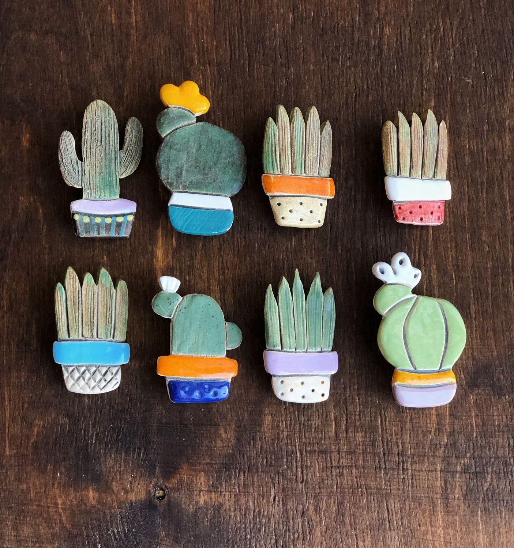 Broche de Cactus hecho a mano de cerámica, Brooches, Moscow,  Фото №1