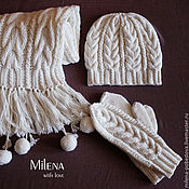 Аксессуары handmade. Livemaster - original item Crochet Kit Lively pompons, knitted hat, scarf and mittens.. Handmade.