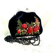 Сумки и аксессуары ручной работы. Ярмарка Мастеров - ручная работа Сумка  ручной работы черная с  красными розами. Handmade.