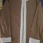 Одежда ручной работы. Ярмарка Мастеров - ручная работа Кофта мужская коричневая отделка светлая. Handmade.