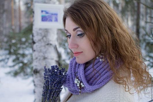 Брошь булавка с натуральными камнями перламутра `Зима в Провансе`, PERLINA Магазин украшений