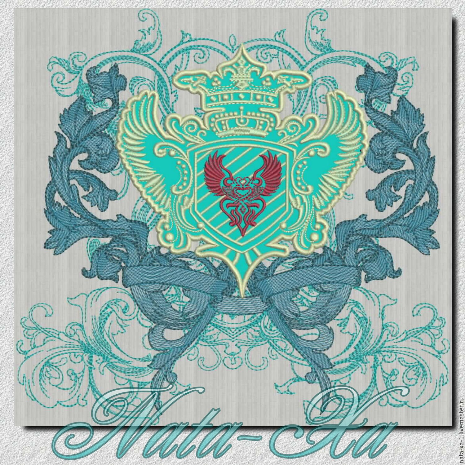 Design for machine embroidery. Coat of arms (with an element of an application), Patterns for embroidery, Solikamsk,  Фото №1