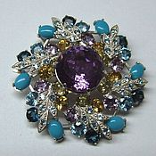 Украшения handmade. Livemaster - original item Brooch-pendant with amethyst, citrine and topaz. Handmade.