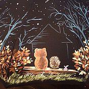 Аксессуары ручной работы. Ярмарка Мастеров - ручная работа Зонт с росписью- Ежик и мишка. Handmade.
