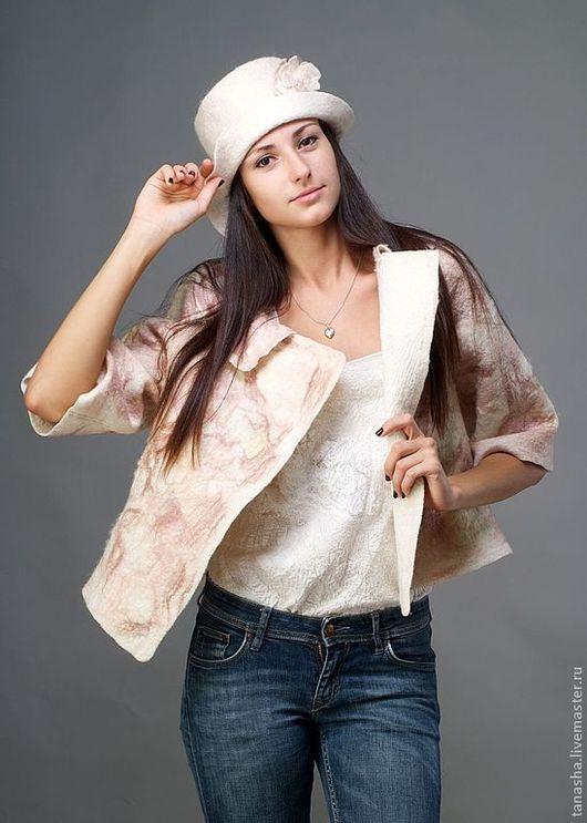 стильная валяная куртка из натуральных материалов шерсть кудри шерстяные авторский войлок