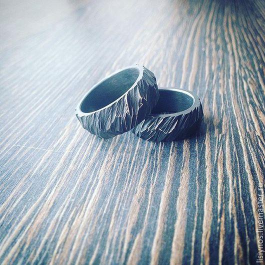Украшения для мужчин, ручной работы. Ярмарка Мастеров - ручная работа. Купить Сет №7 обручальные  кольца Молния. Handmade. Черный