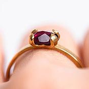 Украшения handmade. Livemaster - original item Garnet ring gold plated Silver ring plated with gold. Handmade.