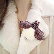 Украшения handmade. Livemaster - original item Brooch-butterfly with fur. Handmade.