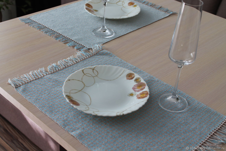 Set of homespun table napkins blue set, Swipe, Cherepovets,  Фото №1