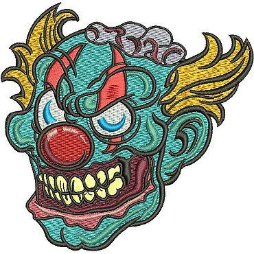 Материалы для творчества ручной работы. Ярмарка Мастеров - ручная работа Голова ЗОМБИ клоуна дизайн машинной вышивки. Handmade.