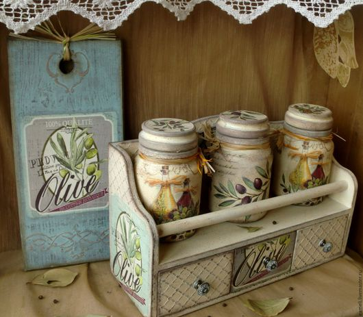 """Кухня ручной работы. Ярмарка Мастеров - ручная работа. Купить """"Оливковая ветка""""  5 предметов для кухни. Handmade. Бежевый, олива"""