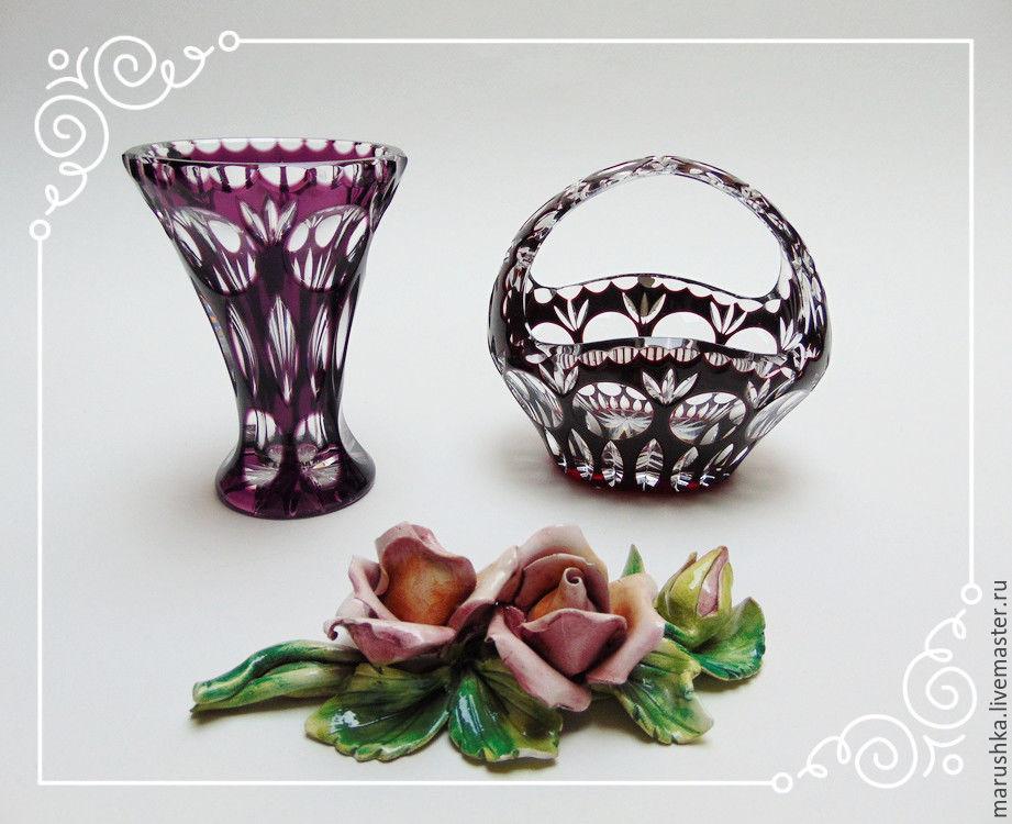 Винтаж: Корзинка  и ваза для цветов, цветной хрусталь, Nahtmann, Германия, Кухонная утварь винтажная, Грац,  Фото №1