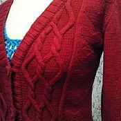 Одежда ручной работы. Ярмарка Мастеров - ручная работа Шерстяная кофточка красного цвета вязаная спицами. Handmade.
