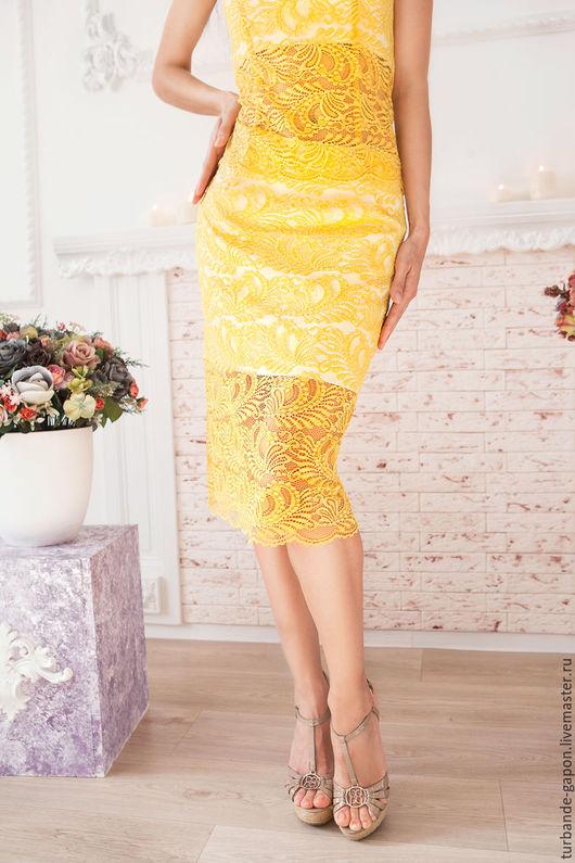 """Платья ручной работы. Ярмарка Мастеров - ручная работа. Купить Гипюровый юбка """"Кружева от солнца"""". Handmade. Желтый, купить корсет"""
