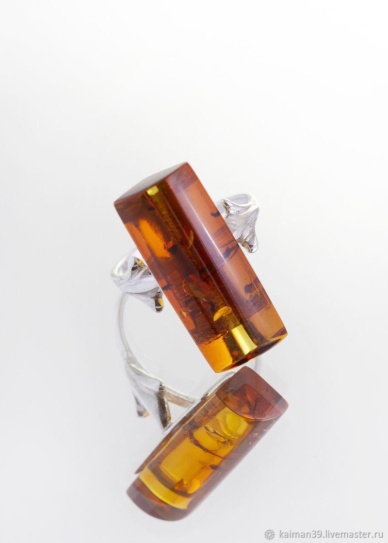 Красивое кольцо из серебра и натурального балтийского янтаря, Кольца, Калининград,  Фото №1