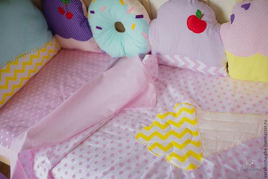 Детская ручной работы. Ярмарка Мастеров - ручная работа. Купить Комплект постельного белья. Handmade. Бледно-розовый, комплект для девочки