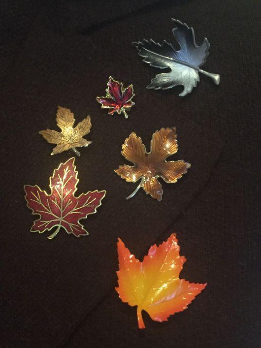 Винтажные украшения. Ярмарка Мастеров - ручная работа. Купить Осенний листопад. Handmade. Винтаж, винтажная брошь, брошка, брошь лист