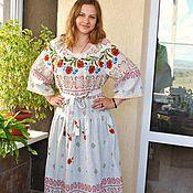 Одежда handmade. Livemaster - original item Dress in Russian style summer Poppy long. Handmade.