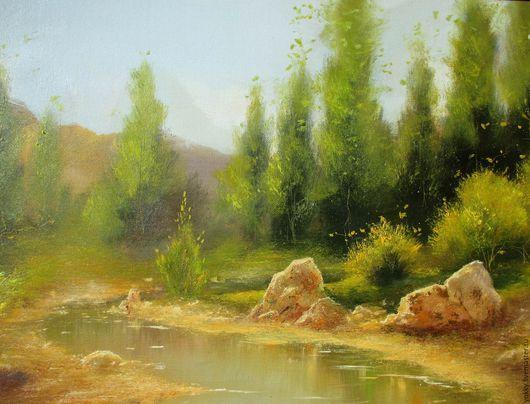 Пейзаж ручной работы. Ярмарка Мастеров - ручная работа. Купить Под Солнцем. Handmade. Картина, австралийский, горы, камешки, камни