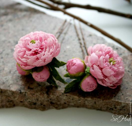 """Заколки ручной работы. Ярмарка Мастеров - ручная работа. Купить Шпилька """"Пионы"""". Handmade. Розовый, романтичное украшение"""