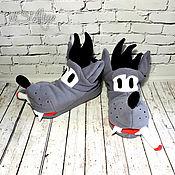 Сувениры и подарки handmade. Livemaster - original item Slippers Wolf. Handmade.