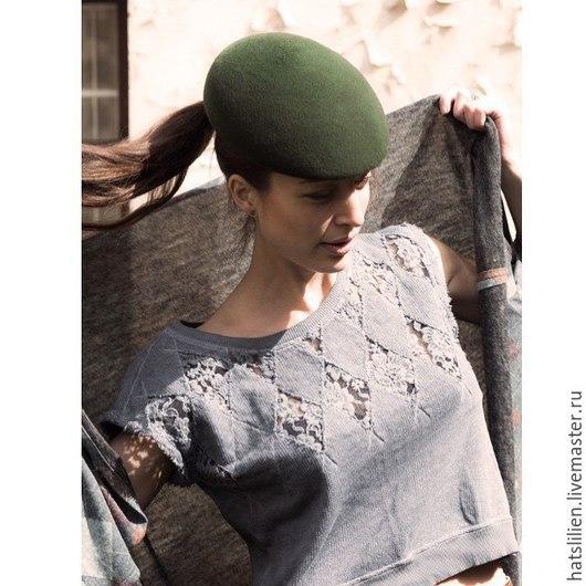Кепки ручной работы. Ярмарка Мастеров - ручная работа. Купить Фетровая кепка, зеленая. Handmade. Болотный, зеленый, тёмно-зелёный