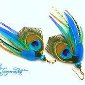 Украшения handmade. Livemaster - original item Small turquoise-blue earrings of peacock and cock feathers. Handmade.