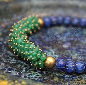 Украшения handmade. Livemaster - original item Blue-green Indian necklace with emeralds and sapphires short brass. Handmade.