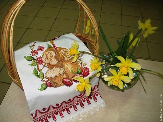 """Подарки на Пасху ручной работы. Ярмарка Мастеров - ручная работа. Купить """"Скоро Пасха"""" пасхальная салфетка. Handmade. Пасхальный подарок"""