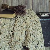 """Аксессуары ручной работы. Ярмарка Мастеров - ручная работа Шаль вязаная льняная """"Ретро"""" полушалок бактус платок. Handmade."""