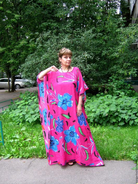 Пляжные платья ручной работы. Ярмарка Мастеров - ручная работа. Купить Яркое пляжное платье. Handmade. Фуксия, полиэстер