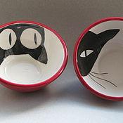 """Посуда ручной работы. Ярмарка Мастеров - ручная работа """"Плошки - кошки"""" салатники керамические. Handmade."""