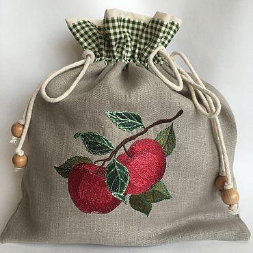 Для дома и интерьера ручной работы. Ярмарка Мастеров - ручная работа Мешочек льняной для яблок. Сушеные яблоки. Handmade.