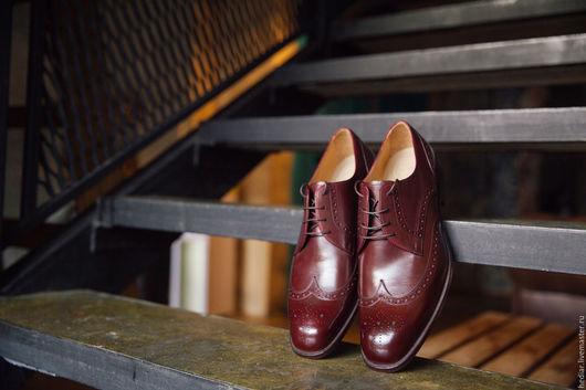 """Обувь ручной работы. Ярмарка Мастеров - ручная работа. Купить Мужские туфли бордовые """"дерби"""" кожа. Handmade. Бордовый, дерби"""
